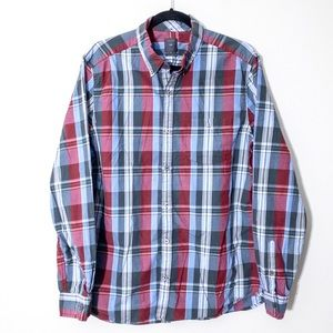 Gap Sz L Red Blue Plaid Long Sleeved Button Front